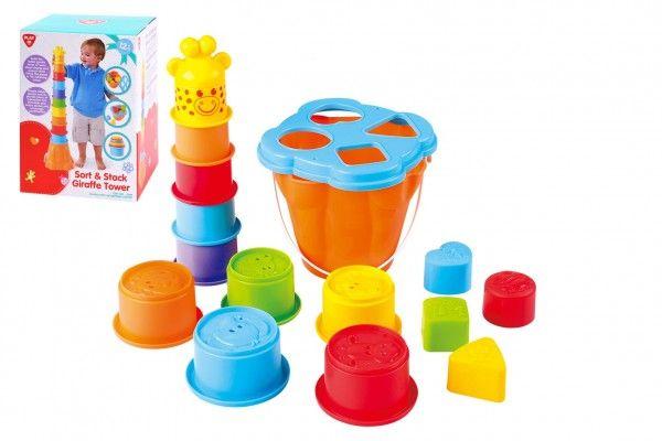 Vkládačka + kubus pyramida žirafa 2v1 plast v krabici