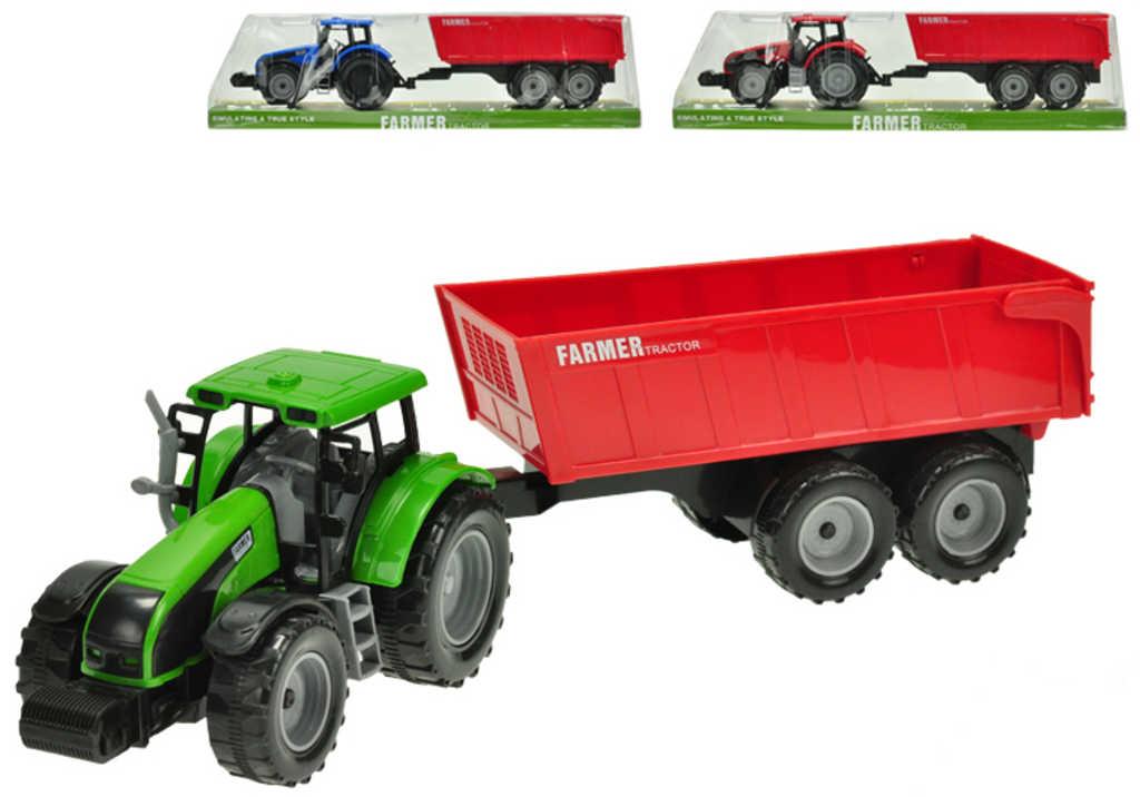 Traktor farmářský set s velkou vlečkou 42cm na setrvačník 3 barvy plast