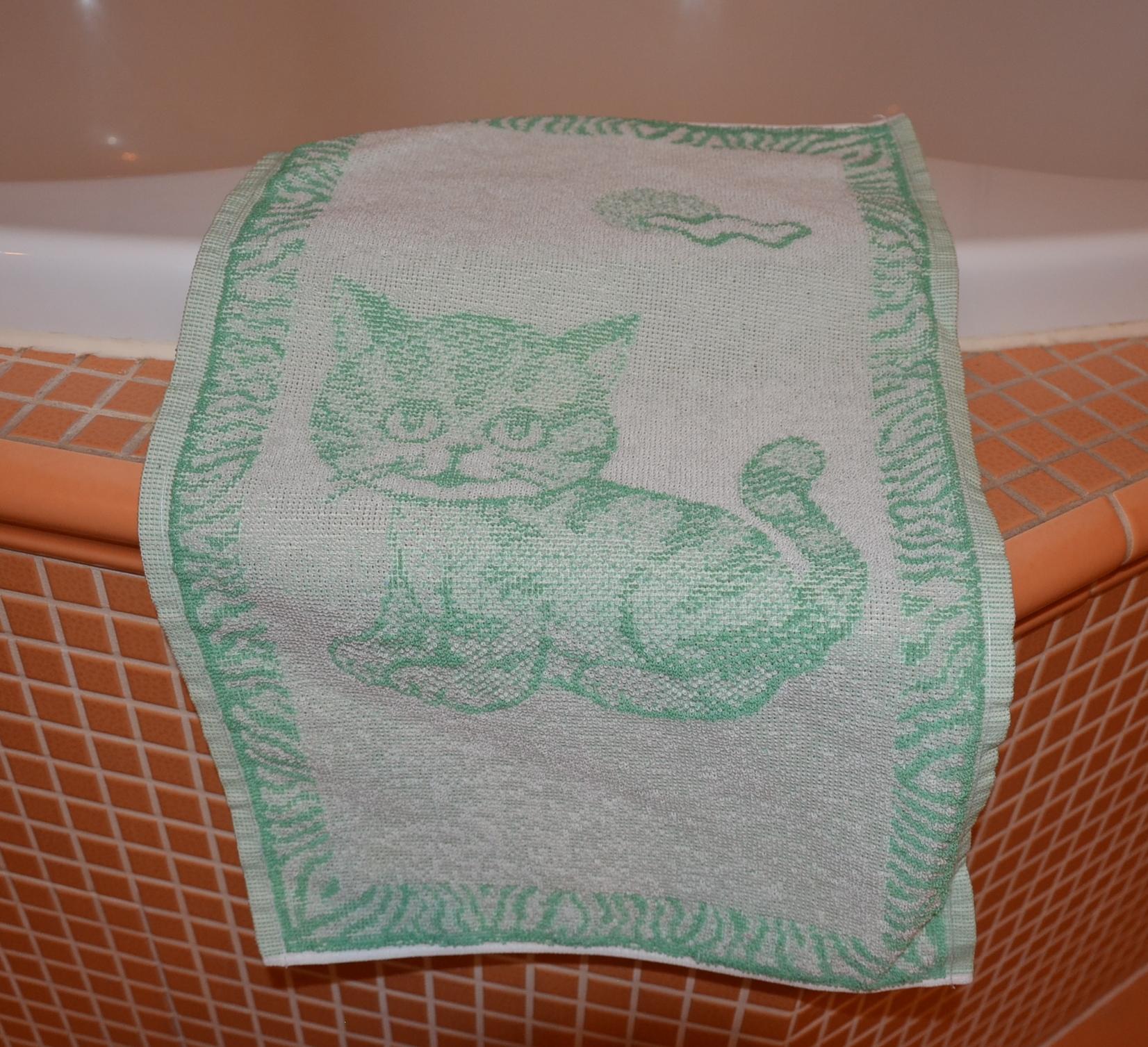 Dětský froté ručník 50x30cm Kotě zelené