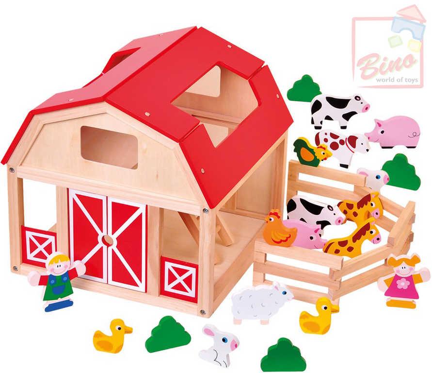 BINO DŘEVO Farma se zvířátky herní set domeček se 2 panáčky a doplňky