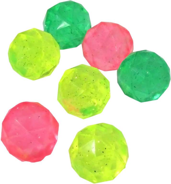 Hopskulička hranatá 2,5cm skákací kulička barevná se třpytkami 3 barvy