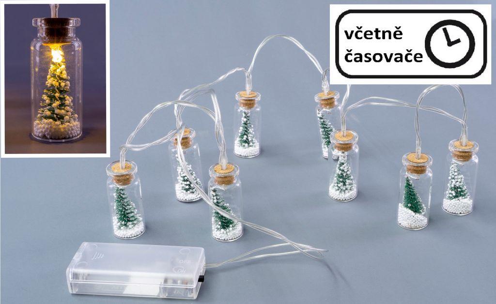 Vánoční dekorativní řetěz - 8 LED, mini skleničky se stromky