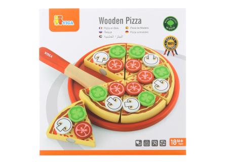 Dřevěná pizza - krájení