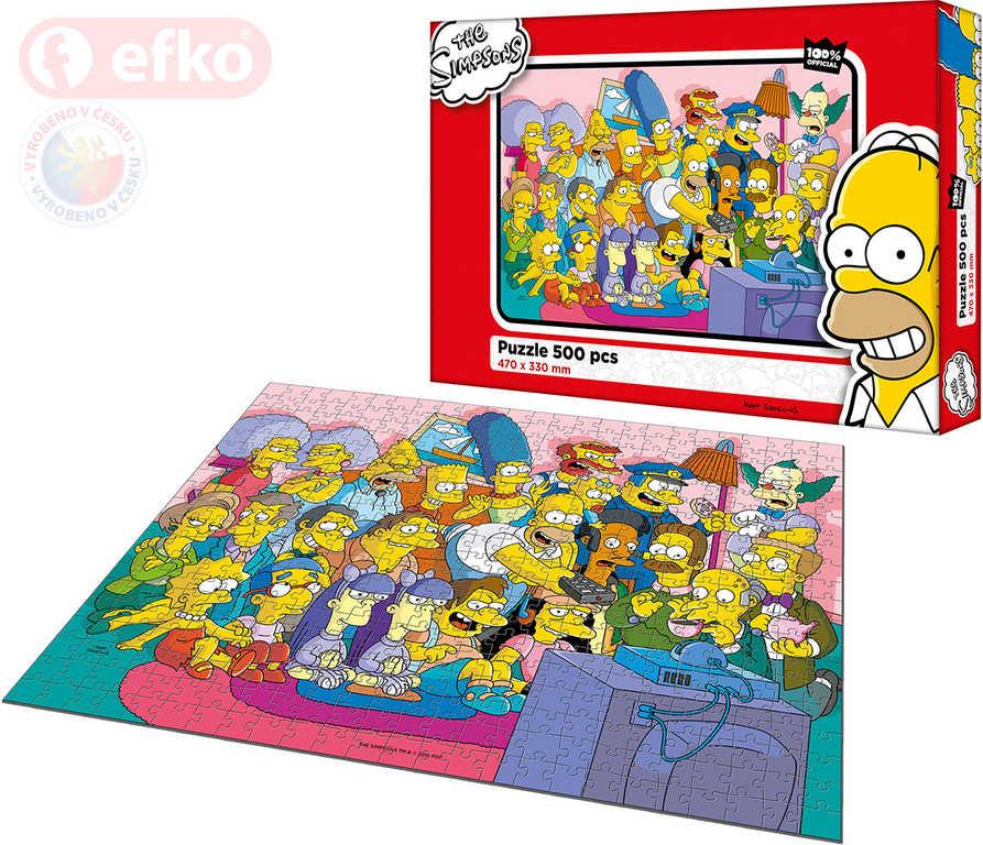 EFKO Puzzle The Simpsons TV mánie skládačka 47x33cm 500 dílků set s plakátem