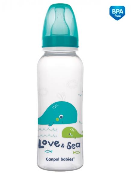 Canpol babies Lahvička s potiskem 250 ml Love&Sea - tyrkysová