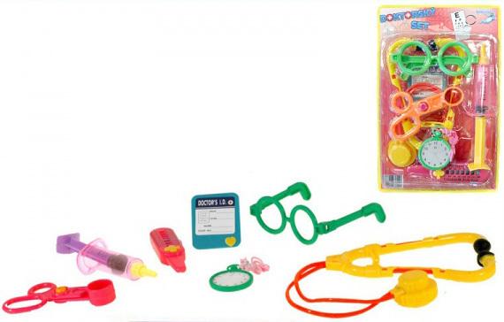 Doktorka stetoskop s doplňky dětské plastové lékařské potřeby set 8ks na kartě