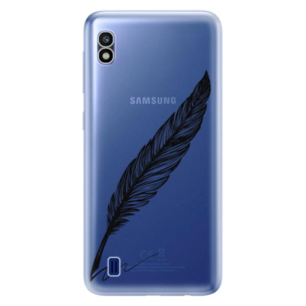 Odolné silikonové pouzdro iSaprio - Writing By Feather - black - Samsung Galaxy A10