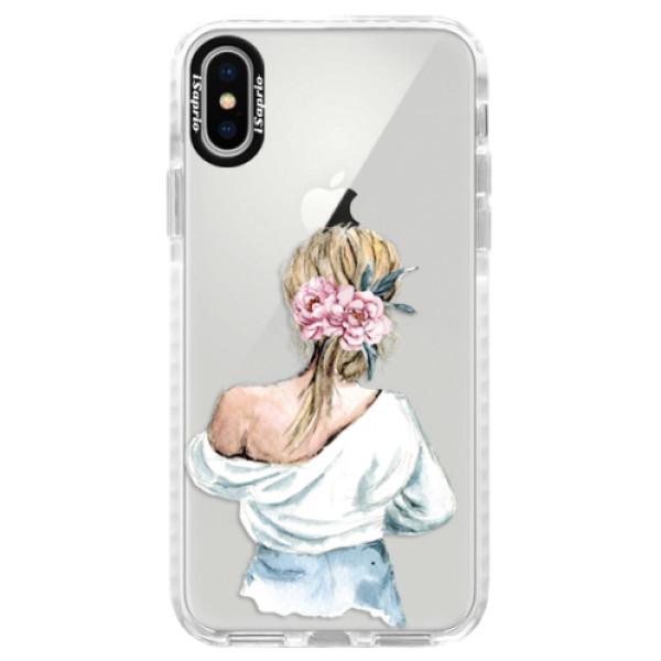 Silikonové pouzdro Bumper iSaprio - Girl with flowers - iPhone X