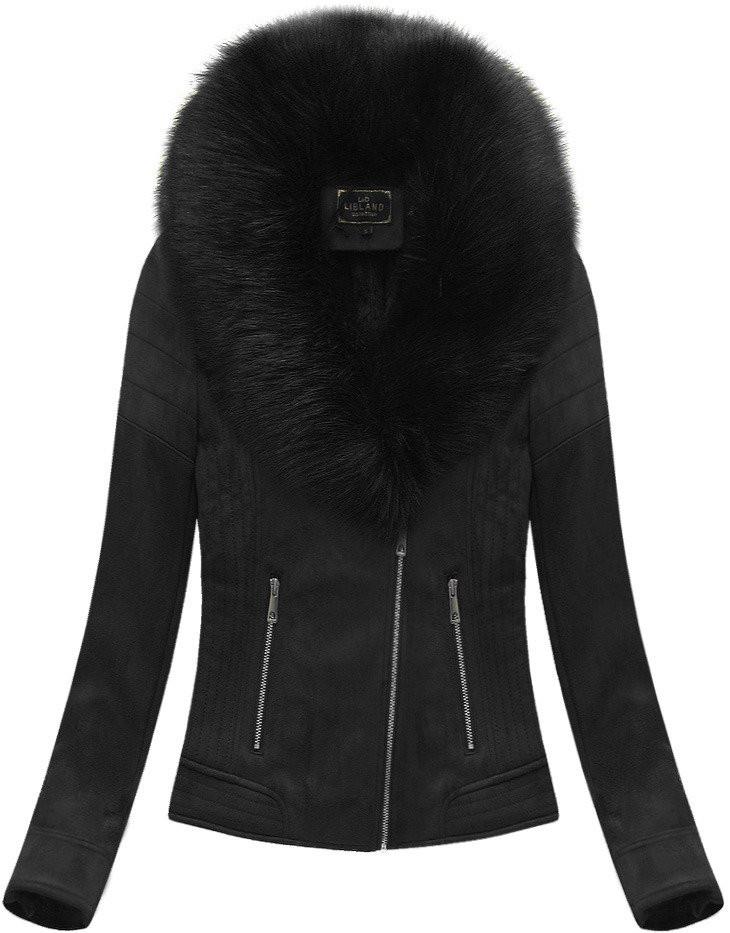 Černá dámská bunda ramoneska s kožíškem (6502BIG)