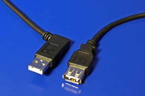 Kabel USB 2.0 A-A 15cm prodlužovací, lomený vpravo, černý
