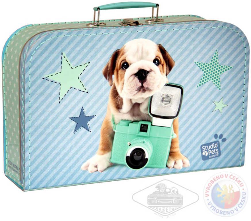 KAZETO Kufr lepenkový Pejsek fotoaparát velký modrozelený