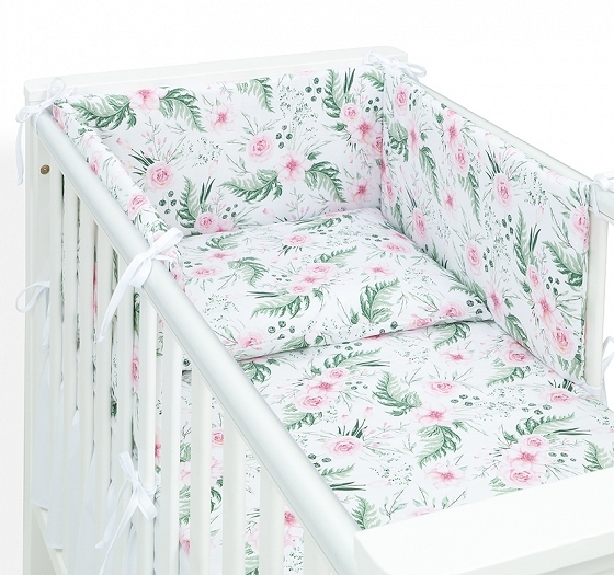 mamo-tato-3-dilny-set-do-postylky-s-mantinelem-ruzova-zahrada-135-x-100-cm-135x100
