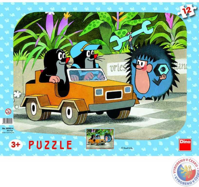 DINO Puzzle KRTEK v autíčku (krteček) 12 dílků tvary