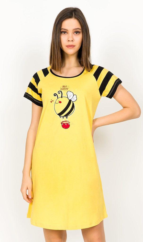 Dámská noční košile s krátkým rukávem Včelka - žlutá