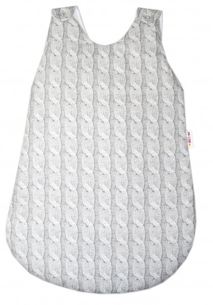Bavlněný spací vak Baby Nellys, Pletený cop, 74 cm - šedý