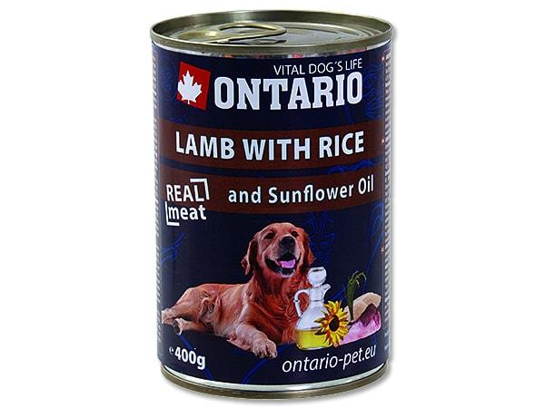 Konzerva ONTARIO Dog Lamb, Rice and Sunflower Oil 400g