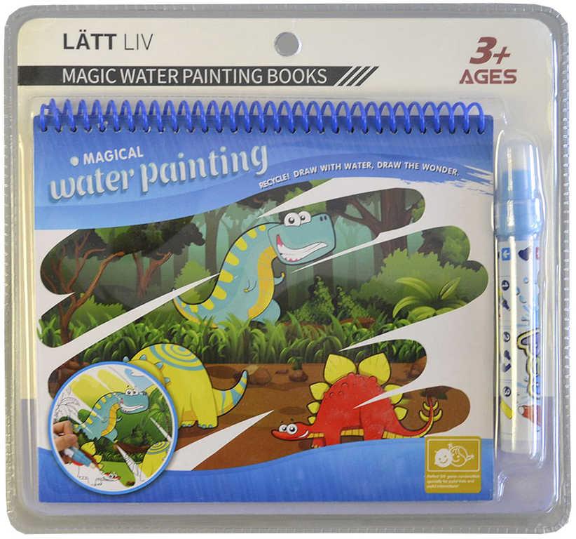 Kouzelné malování vodou 20x16cm dinosauři set s vodní fixou karta