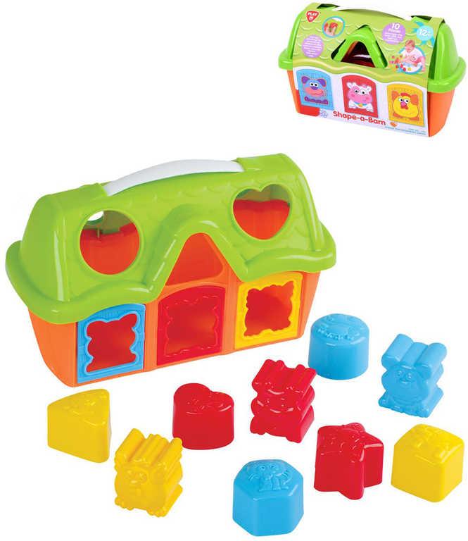 Baby vkládačka domeček stodola set s 10 kostkami zvířátka plast