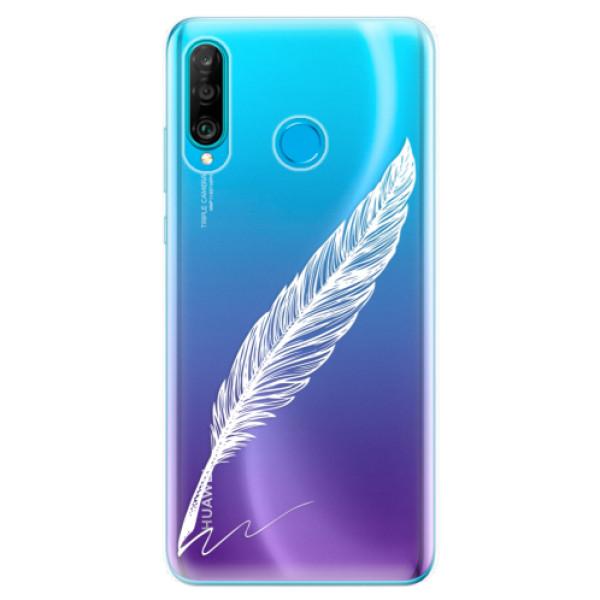 Odolné silikonové pouzdro iSaprio - Writing By Feather - white - Huawei P30 Lite