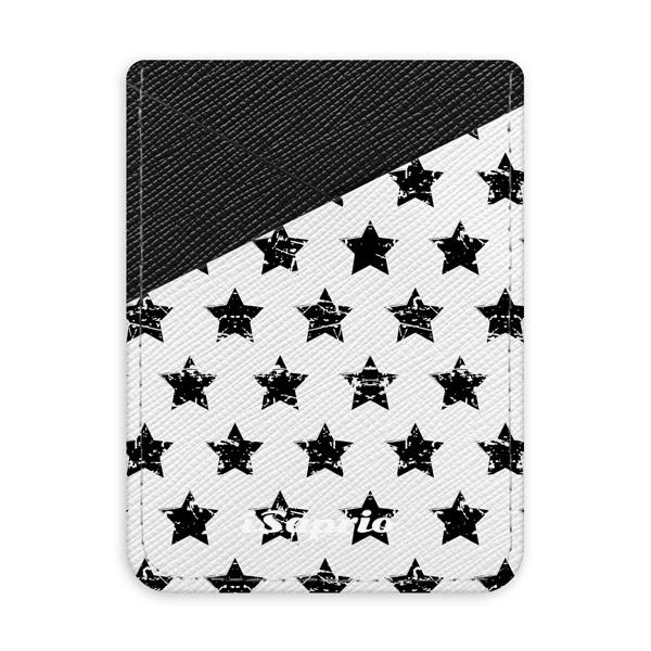 Pouzdro na kreditní karty iSaprio - Stars Pattern - black - tmavá nalepovací kapsa