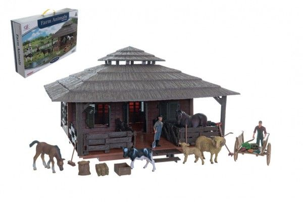 Zvířátka sada velká farma s doplňky plast v krabici 60x41x13,5cm