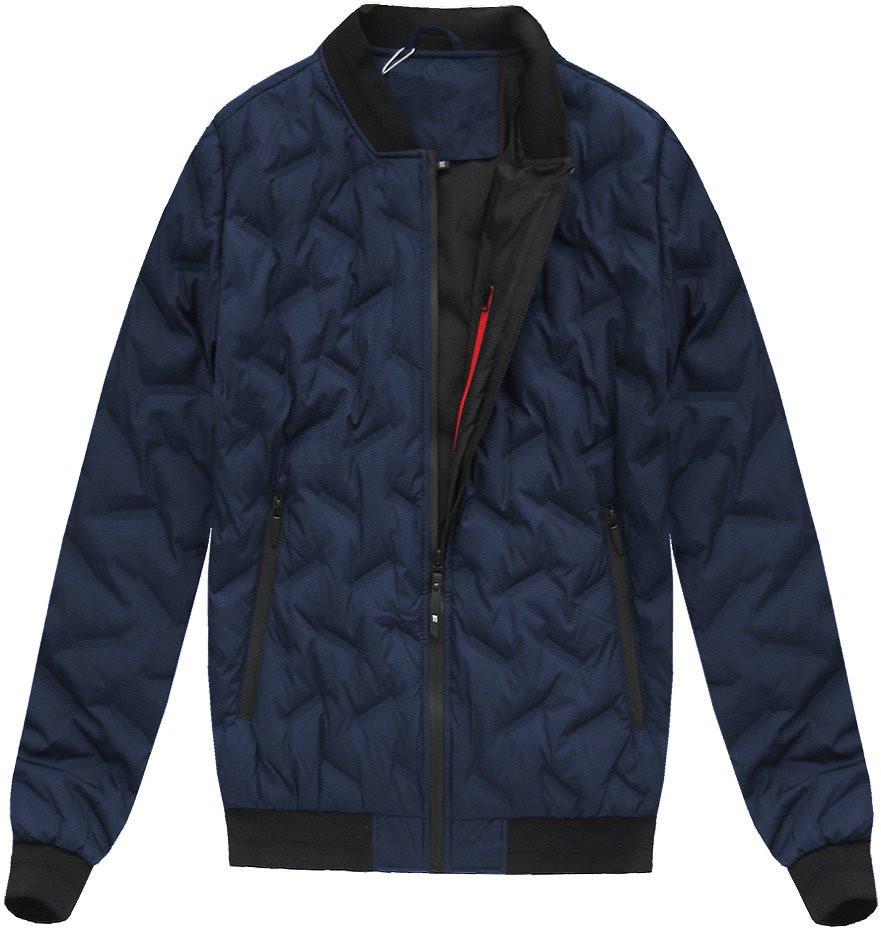 Tmavě modrá pánská bunda s přírodní vycpávkou (X5025X)