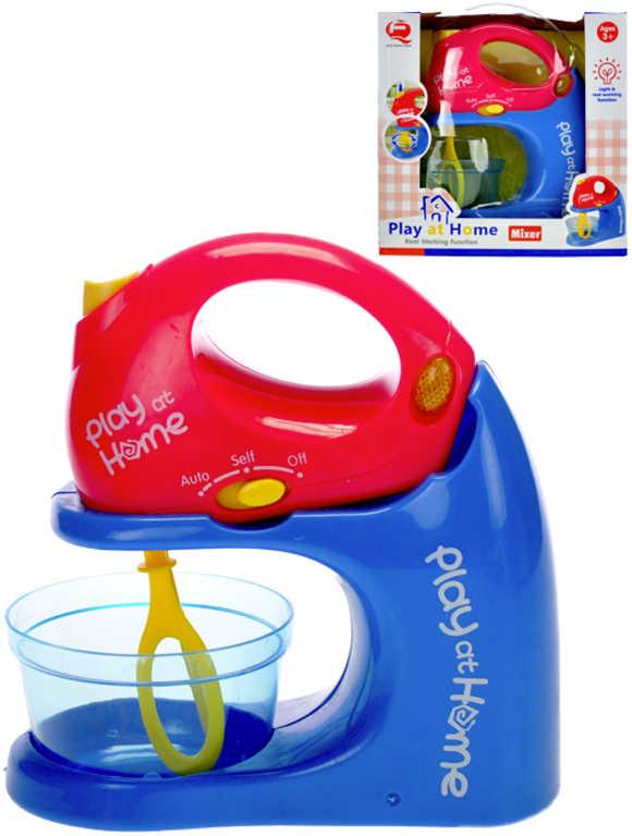 Mixér dětský modro-červený 18cm set s nádobkou na baterie Světlo Zvuk v krabici