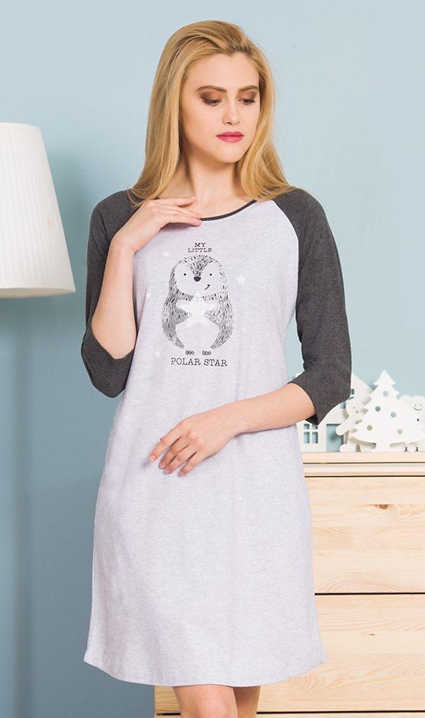 Dámská noční košile s dlouhým rukávem Polar star - šedá - S