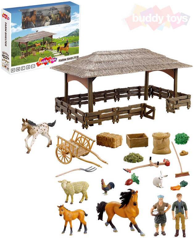 BUDDY TOYS Farma přístřešek velký herní set zvířátka s doplňky + 2 figurky