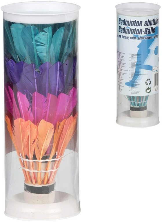 Košíčky barevné míčky na badminton set 4ks v tubě péřové
