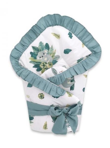 baby-nellys-rychlozavinovacka-80-x-80-cm-s-volankem-a-stuhou-tropical-koala-zelena-bila