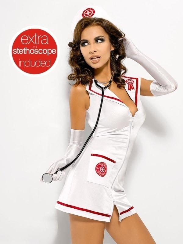 Sexy kostým Obsessive Emergency dress + stetoskop - Bílá - XXL