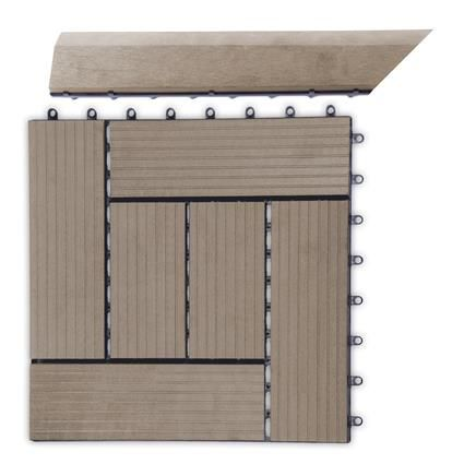 Přechodová lišta G21 pro WPC dlaždice indický teak, 38,5x7,5 cm rohová (levá)