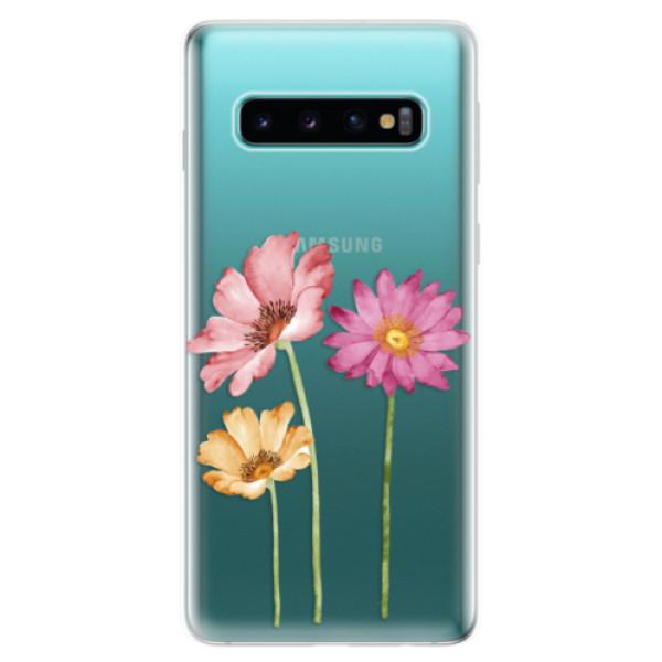 Odolné silikonové pouzdro iSaprio - Three Flowers - Samsung Galaxy S10