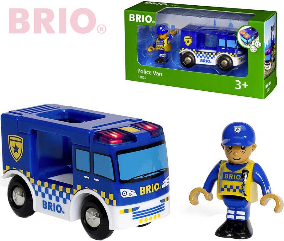 BRIO DŘEVO Dodávka policejní na baterie set s figurkou