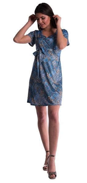 d426f5737ab7 Těhotenské šaty s květinovým potiskem s mašlí - tm. modré - vel. S ...
