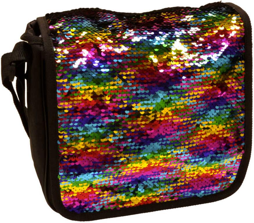 ALLTOYS Messenger taška holčičí flitrová 22x25cm přes rameno s třpytkami