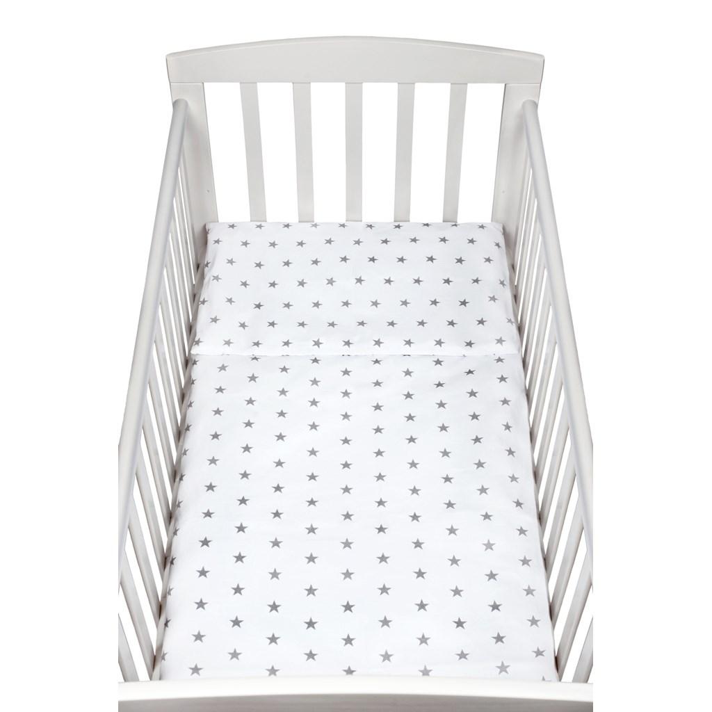 2-dílné ložní povlečení New Baby 100/135 cm šedé hvězdičky - bílá