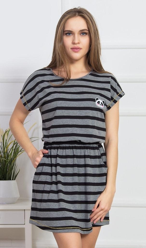 Dámské domácí šaty s krátkým rukávem Panda - tmavě šedá