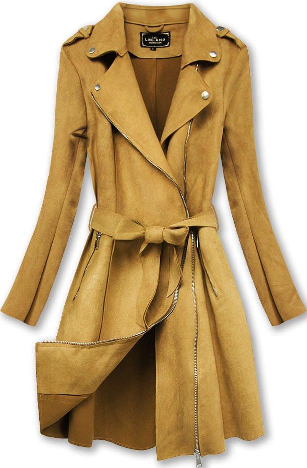 Semišový kabát v hořčicové barvě (6004) - Žlutá/XL (42)