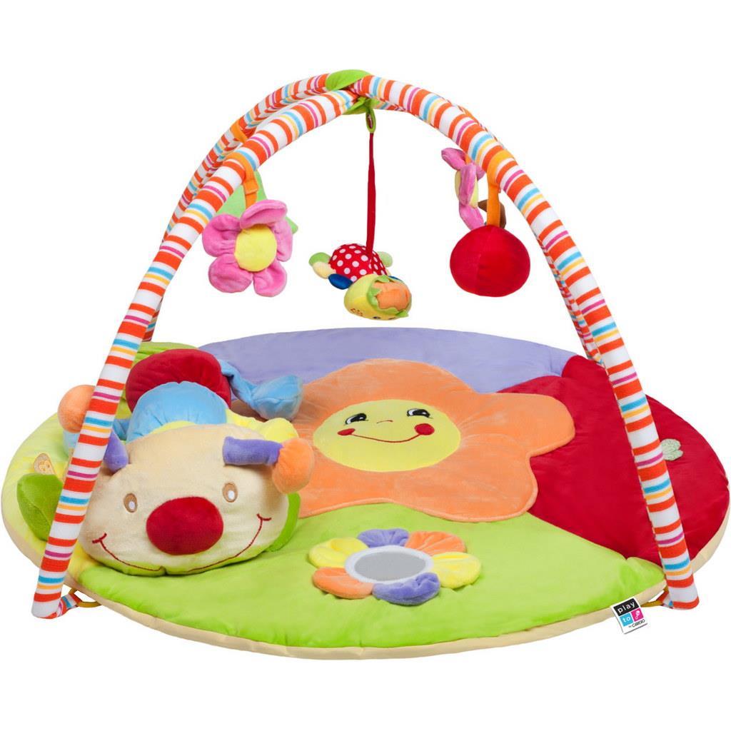 Hrací deka PlayTo stonožka s hračkou - multicolor
