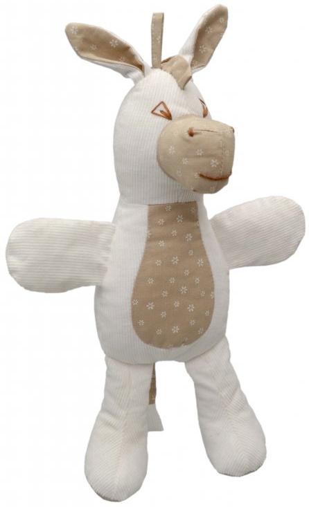 MORAVSKÁ ÚSTŘEDNA Baby oslík textilní s chrastítkem 35cm kytičky