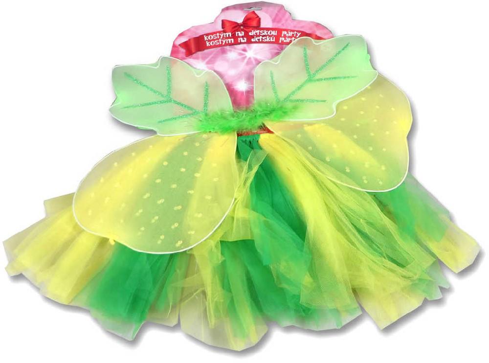 KARNEVAL Šaty žlutozelená sukně s křídly a čelenkou KOSTÝM