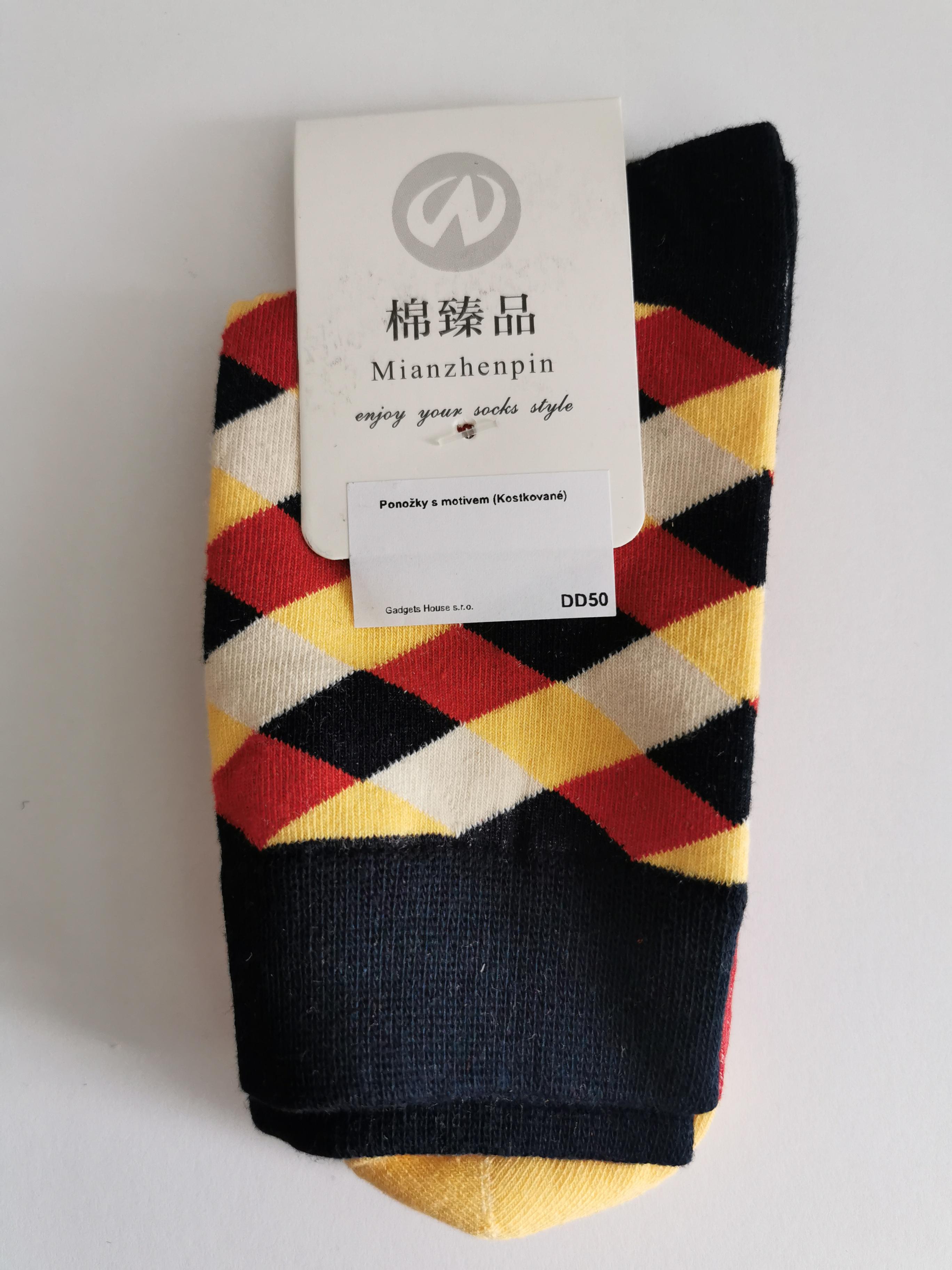Ponožky s kostkovanými vzory - Černá s béžovo-červenou