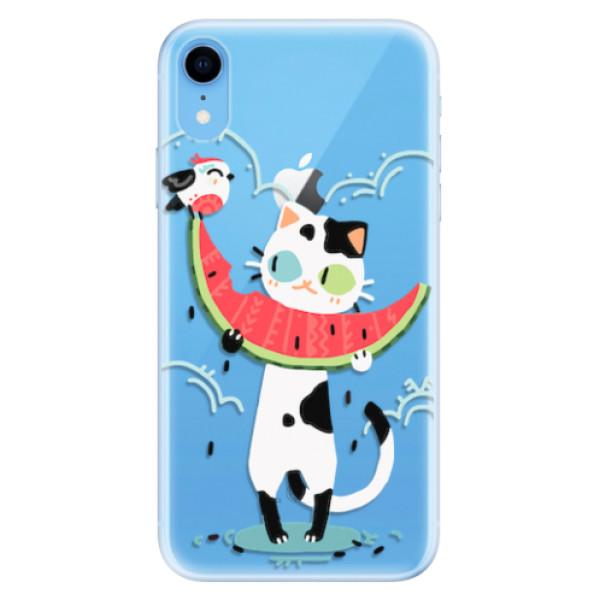 Odolné silikonové pouzdro iSaprio - Cat with melon - iPhone XR