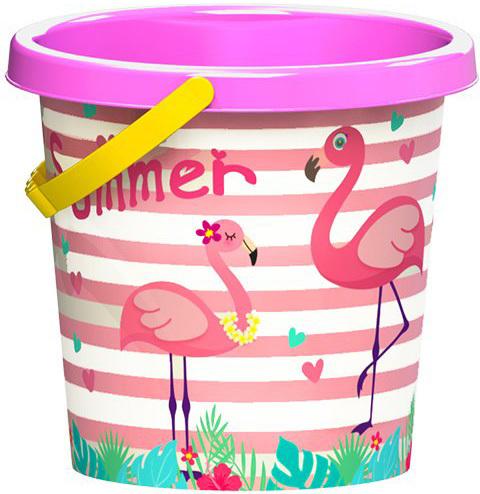 Baby veselý kbelík plameňák 17cm plast pro miminko