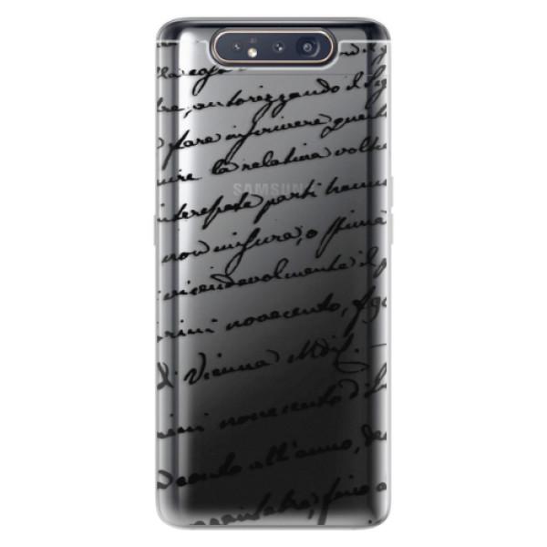 Odolné silikonové pouzdro iSaprio - Handwriting 01 - black - Samsung Galaxy A80