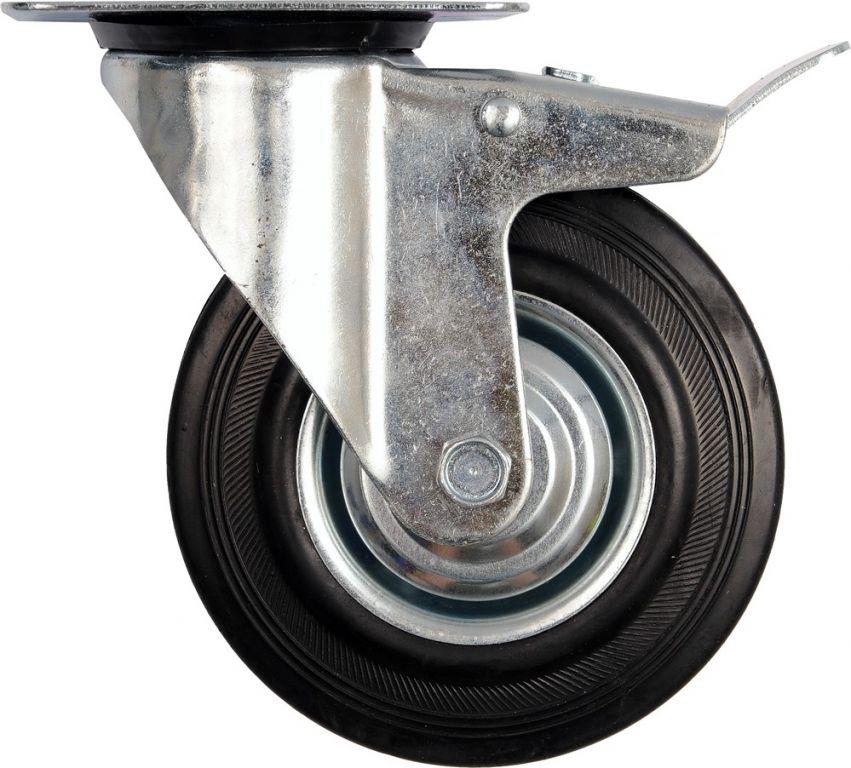 Kolečko otočné s brzdou, gumové, 40 kg, 75/23/97 mm