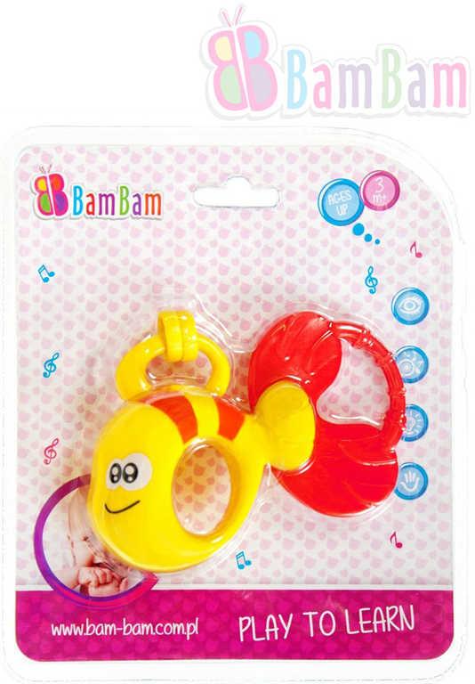 ET BAM BAM Baby chrastítko rybka s kroužky na kartě pro miminko