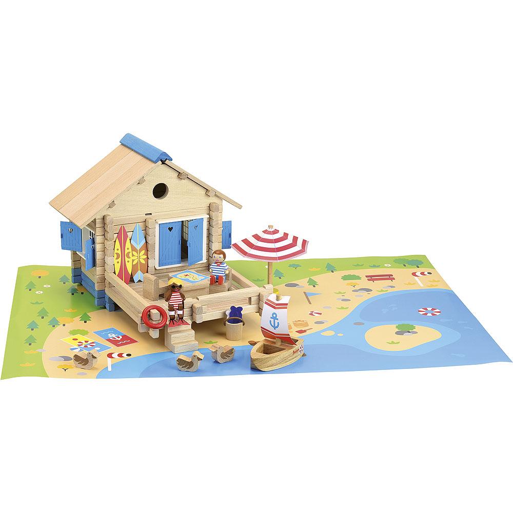 Jeujura Dřevěná stavebnice plážový domek 120ks